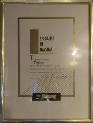 Specialist in Havanas cigars - certificate